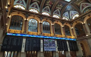 epa08724946 A screen displays the evolution of the IBEX 35 index in Madrid's Stock Exchange building at the end of the trading session in Madrid, Spain, 06 October 2020. Spain's IBEX 35 index rose a 1.44 percent to reach 6,900 points at the end of the trading day.  EPA/VEGA ALONSO