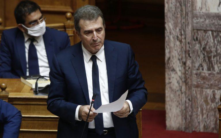 Ο υπουργός Προστασίας του Πολίτη Μιχάλης Χρυσοχοΐδης μιλάει από το βήμα στην αίθουσα της Ολομέλειας της Βουλής σε εκδήλωση για την Παγκόσμια Ημέρα κατά της Εμπορίας Ανθρώπων, Πέμπτη 30 Ιουλίου 2020. Πραγματοποιείται κοινή ειδική συνεδρίαση της Διαρκούς Επιτροπής Κοινωνικών Υποθέσεων, της Διαρκούς Επιτροπής Δημόσιας Διοίκησης, Δημόσιας Τάξης και Δικαιοσύνης και της Υποεπιτροπής για την Καταπολέμηση της Εμπορίας και της Εκμετάλλευσης Ανθρώπων.ΑΠΕ- ΜΠΕ/ΑΠΕ- ΜΠΕ/ΑΛΕΞΑΝΔΡΟΣ ΒΛΑΧΟΣ