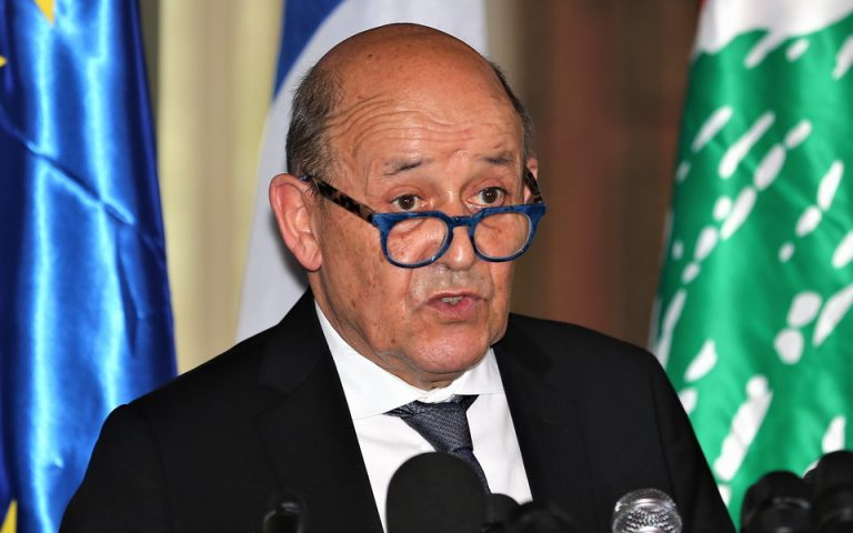 epa08562694 Jean-Yves Le Drian, French Minister of Europe and Foreign Affairs during a joint press conference with Nassif Hitti Lebanese Minister of Foreign Affairs and Emigrants (not pictured), at the Lebanese Foreign Ministry in Beirut, Lebanon, 23 July 2020. Le Drian said, during the meeting, that Lebanon has no other option but an IMF programme to help with its acute financial crisis, according to press reports.  EPA/NABIL MOUNZER