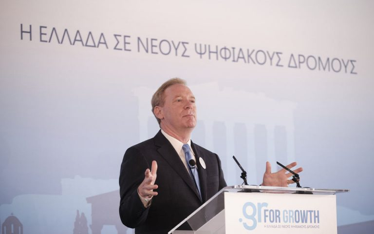 (Ξένη Δημοσίευση) Ο πρόεδρος της Microsoft Brad Smith μιλάει σε εκδήλωση στο Μουσείο της Ακρόπολης, για την παρουσίαση μίας νέας επένδυσης της εταιρείας στην Ελλάδα, στο πλαίσιο του προγράμματος στρατηγικής συνεργασίας #GrforGrowth, Αθήνα, Δευτέρα 05 Οκτωβρίου 2020. ΑΠΕ-ΜΠΕ/ΓΡΑΦΕΙΟ ΤΥΠΟΥ ΠΡΩΘΥΠΟΥΡΓΟΥ/ΔΗΜΗΤΡΗΣ ΠΑΠΑΜΗΤΣΟΣ