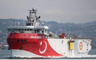 FILE PHOTO: Turkish seismic research vessel Oruc Reis sails in the Bosphorus in Istanbul, Turkey, October 3, 2018. Picture taken October 3, 2018. REUTERS/Yoruk Isik/File Photo