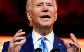 FILE PHOTO: U.S. President-elect Joe Biden delivers a pre-Thanksgiving speech at his transition headquarters in Wilmington, Delaware, U.S., November 25, 2020. REUTERS/Joshua Roberts/File Photo