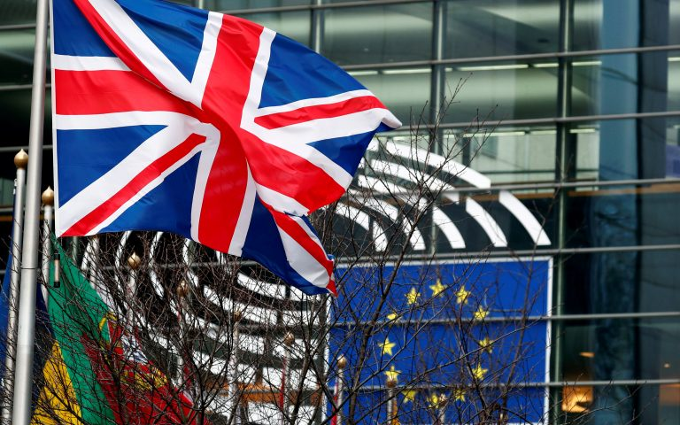 FILE PHOTO: A British Union Jack flag flutters outside the European Parliament in Brussels, Belgium January 30, 2020. REUTERS/Francois Lenoir/File Photo