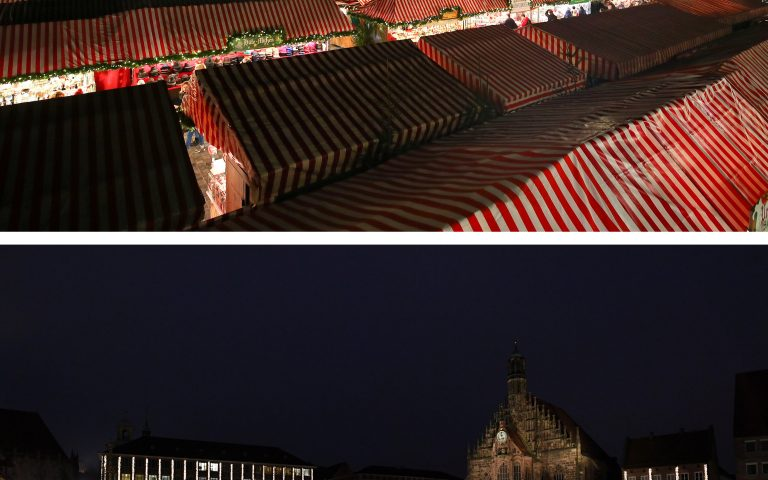 A combination picture shows the traditional Christkindlesmarkt on Hauptmarkt on December 17, 2019, and Hauptmarkt, amid the outbreak of the coronavirus disease (COVID-19), in Nuremberg, Germany, on November 26, 2020. REUTERS/Michael Dalder/Andreas Gebert