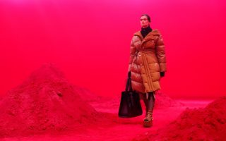 FILE PHOTO: A model presents a creation from the Moncler Autumn/Winter 2020 collection during Milan Fashion Week in Milan, Italy February 19, 2020. REUTERS/Alessandro Garofalo/File Photo