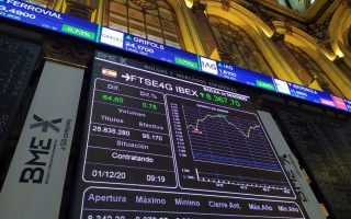 epa08854067 A screen displays a chart of the FTSE4G IBEX at Madrid's Stock Exchange, Spain, 01 December 2020. The index IBEX 35 rose by 0.41 percent at the opening of the trading day, incouraged by positive figures recorded in China and progress of COVID-19 vaccines.  EPA/Vega Alonso