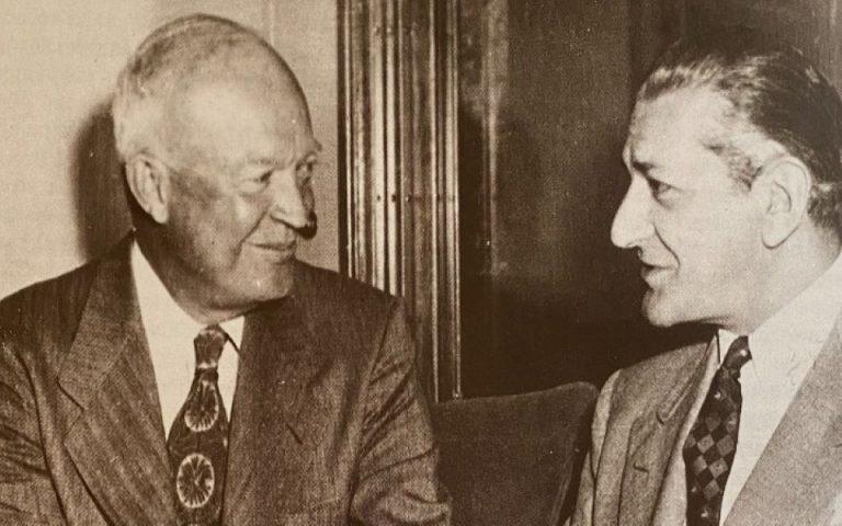 φωτ. ΑΠΕ ΜΠΕ (Ο Ντουάιτ 'Αινζενχάουρ με το δημοσιογράφο Αλέκο Λιδωρίκη, Ουάσιγκτον 1952)
