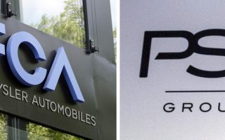 epa07960246 (FILE) - Signage of Italian-US car manufacturer FCA, Fiat Chrysler Automobiles, in Frankfurt am Main, Germany, 04 May 2018 (L) and PSA Group signage in Paris, France, 06 March 2017 (reissued 30 October 2019). Reports on 30 October 2019 state the European car manufacturers PSA Group and Fiat Chrysler Automobiles FCA are engaged is talks discussing a merger that would create a global automobile manufacturing giant valued at more than 44 billion euro.  EPA/MAURITZ ANTIN / CHRISTOPHE PETIT TESSON