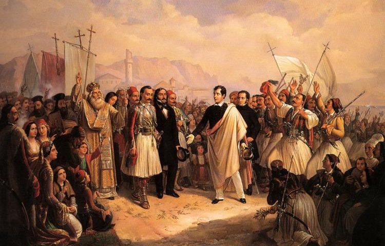 Η υποδοχή του Λόρδου Βύρωνα στο Μεσολόγγι (Θεόδωρος Βρυζάκης).