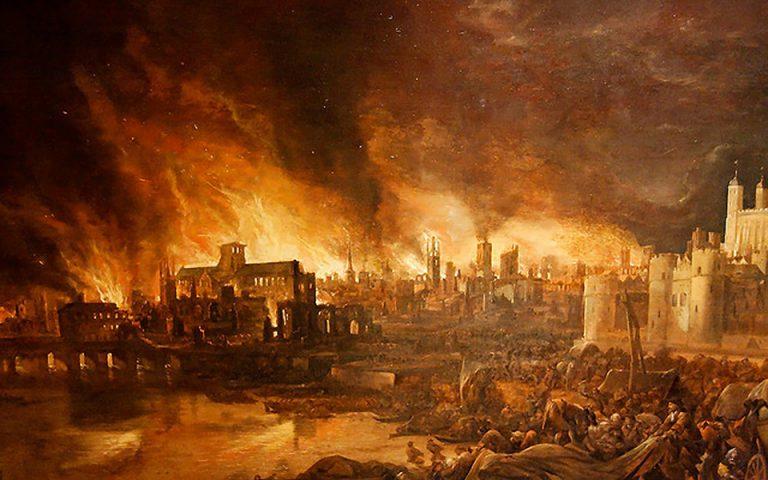 η φωτιά του Λονδίνου όπως την αποτύπωσε καλλιτέχνης